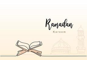 en enda kontinuerlig linjeteckning av ramadan kareem med öppen koran, moskékupol och moskontorn. islamisk semester, eid mubarak gratulationskort koncept en linje rita design vektorillustration vektor