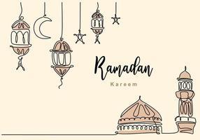 kontinuerlig en linje ritning av islamisk moské med hängande traditionell lykta, stjärna och halvmåne. ramadan kareem gratulationskort, banner och affisch design i vit bakgrund. vektor illustration