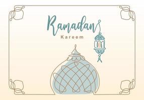 ramadan kareem en kontinuerlig linje med lykta, moskékupol och moskotornprydnad. eid al fitr mubarak och ramadan kareem gratulationskort koncept handritad design minimalistisk stil vektor