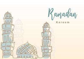 ramadan kareem en kontinuerlig linje med islamisk moské, moskékupol och moskétornprydnad. eid al fitr mubarak och ramadan kareem gratulationskort koncept handritad design minimalistisk stil vektor