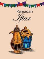 handdrag iftar party eller ramadan mubarak bakgrund med arabisk lykta vektor