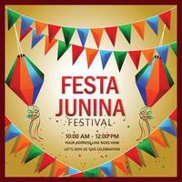 vektorillustration av festa junina med färgglad festflagga och lykta vektor