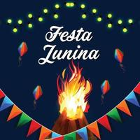 festa junina brasilianska evenemang inbjudningskort vektor