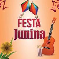 Vektorillustration des Festa Junina-Ereignisses mit der bunten Partyflagge und der Gitarre
