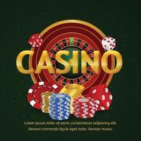 kasinoroulett med spelkort vektor