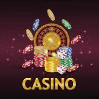Casino-Glücksspiel mit kreativer Illustration Casino-Chips und Spielkarten vektor