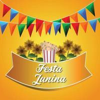 festa junina vektorillustration med färgglad festflagga och bakgrund vektor