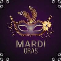 realistisches brasilianisches Karnevals-Partyereignis mit goldener Maske auf lila Hintergrund vektor