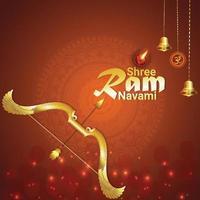 kreative Vektorillustration von goldenem Pfeil und Bogen für glückliche Widder-Navami vektor