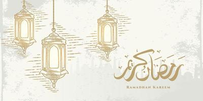Ramadan Kareem Grußkarte mit hängenden goldenen Laternen Skizze und arabische Kalligraphie bedeutet Holly Ramadan. Hand gezeichnete Skizze elegantes Design lokalisiert auf weißem Hintergrund. vektor