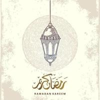 ramadan kareem gratulationskort med lykta skiss och arabisk kalligrafi betyder järnek ramadan. vintage handritad vektorillustration isolerad på vit bakgrund. vektor
