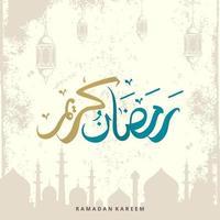 ramadan kareem gratulationskort med lykta och moskéelement och arabisk kalligrafi betyder järnek ramadan i blå och gyllene färg. handritad skiss elegant design. vektor