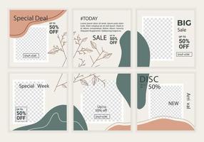 Modeverkauf Social Media Feed Post Sammlung Vorlagen. minimalistisches Konzeptdesign mit pastellneutralen Farbenhintergrund. gute Verwendung für quadratische Banner, Umschläge, Poster, Broschürenhintergrund usw. vektor