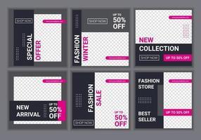 sociala medier postmall för digital marknadsföring och försäljningskampanj. mode och livsstil blogg mallar, webb banners, broschyr design med platshållare för foto. vektor banner erbjudande illustration