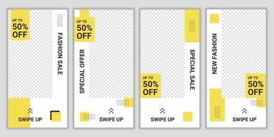 Mode Verkauf Promo Banner Social Media Post. Satz von Social-Media-Story-Post-Frames. bearbeitbare Social-Media-Vorlagen für Werbeaktionen für den Online-Shop. Layout-Design für das Marketing in sozialen Medien. vektor