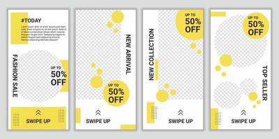 trendige bearbeitbare Designvorlagen. Reihe von kreativen Social Media Banner Geschichten für Mode Online-Shopping. Promotion brandneue Mode Neuankömmling. Jeder kann dieses Design leicht verwenden. Vektorillustration vektor