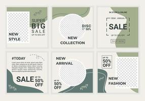 redigerbar fyrkantig abstrakt försäljningsmall för sociala medier och omslag. minimalistisk designbakgrund i mjuk pastellgrå och grön färg. bra för ig-post, bannersdesign och webbinternetannonser vektor
