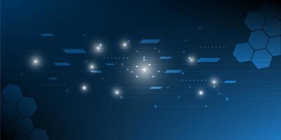 digitaler Hi-Tech-Sechseck-Technologiehintergrund. vektor