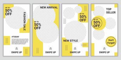 trendig redigerbar mall för socialt nätverk post berättelser design. uppsättning ig berättelse post ram. mockup för affärsberättelser mode, livsstil, produkt för ny ankomst etc. vektorillustration
