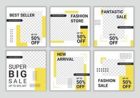 digital marknadsföring företag sociala medier försäljning post banner mall. uppsättning redigerbar postmall för digital marknadsföring. vem som helst kan enkelt använda denna design. gul och vit färg. vektor illustration