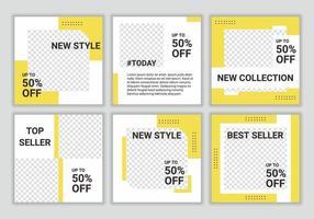 uppsättning redigerbar minimal fyrkantig banner mall för sociala medier mode försäljning marknadsföring post i gul och vit färg. lämplig för sociala medier och internetannonser. vektor illustration