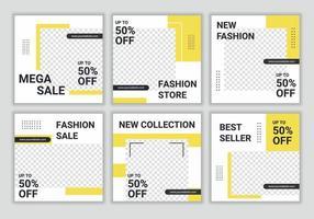 6 uppsättning redigerbar fyrkantig banermalldesign för modeförsäljningspost på sociala mediepost med ljusgul och vit kombinationsfärg. marknadsföring mode mode. vektor ram illustration