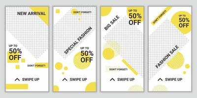 uppsättning eleganta mode stil sociala medier post mall, promo, rabatt, försäljning. layout för affärshistoria ny ankomst, ny samling. design bakgrund för varumärkesmodeannonsering