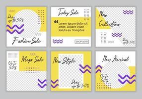 6 Set Sammlung von bearbeitbaren quadratischen Banner Vorlage mit gelben, lila und weißen Farbkombination Hintergrundfarbe mit Streifenlinie Form. Modeverkauf Werbe-Web-Banner für Social-Media-Post vektor