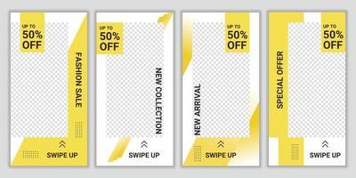 Set Sammlung von bearbeitbaren Post-Template-Social-Media-Bannern für digitales Marketing. Rabatt Promo Vorlage Design. Sonderpreis für Neuankömmling. Vektor Hintergrund Illustration