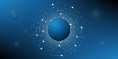 digitale Hi-Tech mit Kreis- und Partikel-Design. vektor