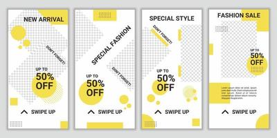 sociala medier ram ställa in bakgrundsmall med kräm gul och vit, enkel elegant minimalistisk stil. trendig designramstil för ny produktkampanj eller giveaway. vektor illustration