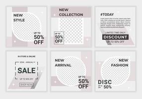 uppsättning försäljning täcka vektor mall design inlägg. trendig design för sociala medier, annonser, specialerbjudanden, försäljning och rabatter. mode försäljning banner med ljus lila, vita färger. vektor illustration
