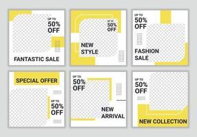 uppsättning av minimalistisk fyrkantig banner för sociala medier vektor