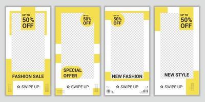 4 Satz Modeverkaufspost Social Media Vorlage. Hintergrund-Design-Layout mit hellgelber und weißer Farbe. Werbemarkenmode. weiße und gelbe Hintergrundfarbformformvektorillustration vektor