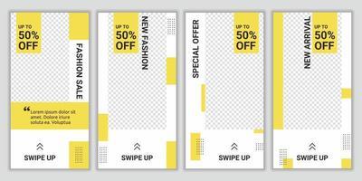 Bündel Modeverkauf Social Media Post Storys für Online-Shopping-Design-Vorlage. Geeignet für digitale Werbung im Social-Media-Post-Fashion-Stil. trendiger Vektorverkauf und Rabatthintergründe vektor