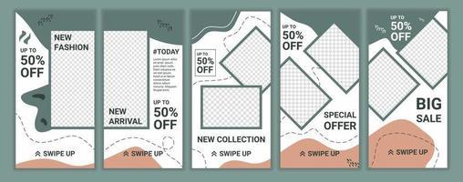 samling av redigerbar banner mall. mode försäljning media sociala berättelser med pastellfärg design pussel. lämplig för berättelser på sociala medier och för mobilannonser på webben. vektor illustration