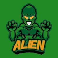 professionelles Logo aggressiver Alien, Sportmaskottchen, E-Sport-Label. gruseliges grünes Monster-Alien-Maskottchen-Vektorillustrationslogo für Ihr E-Sport-Team, persönlich, Firma oder für Kleidung gedruckt. vektor
