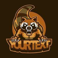 Waschbär Maskottchen Illustration für Sport und E-Sport oder Gaming-Team. Das Emblem-Design mit Wildtier-Konzept kann für Symbole Ihres E-Sport-Teams verwendet oder für Kleidung gedruckt werden, attraktive Symbole vektor