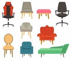uppsättning möbler, soffor och fåtöljer i färgglad design. bekväma tomma stolersamling för interiörutrustning. vektor illustration av stol i olika modeller platt tecknad stil