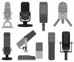 podcastmikrofon ikonuppsättning. musikstudio podcast högtalare vektor emblem samling. olika modeller inspelningsstudiosymbol