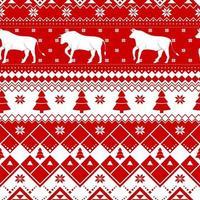 nahtloses Weihnachtsmuster - abwechslungsreiche Weihnachtskühe mit norwegischen Ornamenten. rot und weiß frohes neues Jahr Hintergrund. Vektordesign für Winterferien. Druck für Stoff. vektor