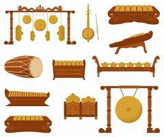 Vektorsatz traditioneller Percussion-Musikinstrumente im flachen Stil. verschiedene klassische orchestrale Musikinstrumente. indonesische Musikinstrumente. grafische Gestaltungselemente des Zeichentrickfilms vektor