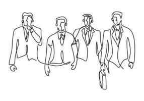 eine durchgehende Strichzeichnung des Geschäftsmannes, der mit sicherer Haltung steht. Ein junger Geschäftsmann blickt auf das optimistische Symbol des Erfolgs, das auf weißem Hintergrund isoliert ist. Vektorillustration vektor