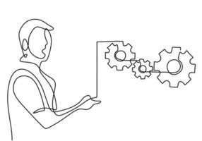 fortlaufende einzeilige Zeichnung eines jungen Managers, der eine Präsentation über den Rückgang der Produktverkäufe hielt, aber stabil blieb. Brainstorming über Projektkonzept. Vektorillustration auf weißem Hintergrund vektor