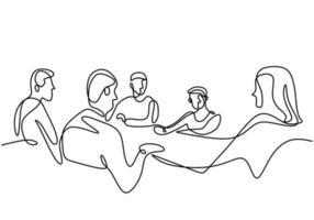 Kontinuierliche einzeilige Zeichnung einer Gruppe von Geschäftsleuten, die im Konferenzraum diskutieren. professionelles junges Geschäftsteam spricht neues Projekt isoliert auf weißem Hintergrund. Vektorillustration vektor