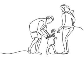 kontinuierliche einzeilige Zeichnung des glücklichen Familienvaters, der Mutter und ihres Kindes, die zusammen zu Hause Feld lokalisiert auf weißem Hintergrund spielen. glückliches Familienelternkonzept. Vektorillustration vektor