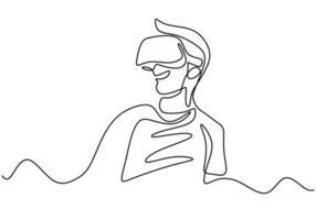 junger Mann, der vr Brille eine durchgehende Strichzeichnung trägt. Ein junger Mann verwendet die virtuelle Realität eines Brillengeräts, wenn er zu Hause spielt. Vektorillustration vektor