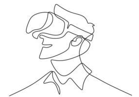 ung man som bär vr glasögon en kontinuerlig linjeteckning. en ung man använder glasögon virtuell verklighet när han spelar spel hemma handritad linje konst minimalism stil. vektor illustration