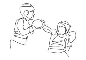 kontinuierliche einzeilige Zeichnung von zwei Mann spielendem Boxen lokalisiert auf weißem Hintergrund. professioneller junger Boxermann, der Dehnung vor dem Üben des Boxens tut. minimalistische Stilvektorillustration vektor