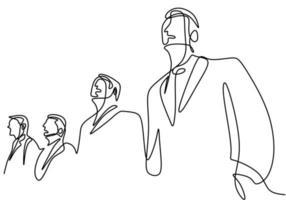 eine durchgehende Strichzeichnung des Geschäftsmannes, der mit sicherer Haltung steht. Ein junger Geschäftsmann sucht das optimistische Symbol des Erfolgs auf weißem Hintergrund. Vektorillustration vektor